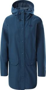 Niebieska kurtka The North Face długa w sportowym stylu