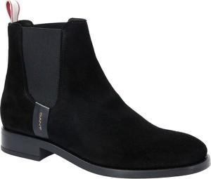 Czarne botki Gant z płaską podeszwą w stylu casual