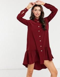 Czerwona sukienka River Island w stylu casual koszulowa z długim rękawem