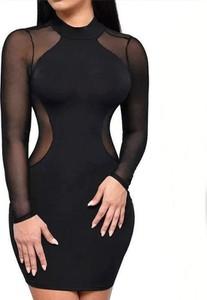 Czarna sukienka Arilook z bawełny z okrągłym dekoltem mini