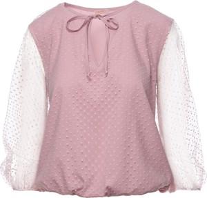 Różowa bluzka Makover w stylu casual z tkaniny z długim rękawem