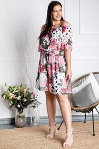Sukienka KARKO hiszpanka z szyfonu w stylu casual