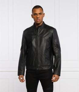 Czarna kurtka Hugo Boss w stylu casual ze skóry