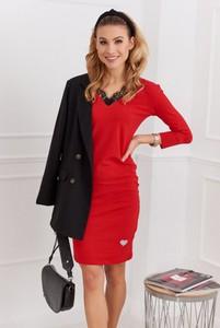 Czerwona sukienka Fasardi z długim rękawem