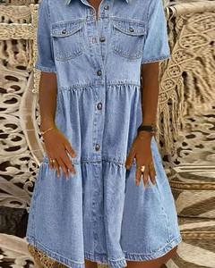 Niebieska sukienka Kendallme z długim rękawem z kołnierzykiem w stylu casual