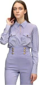 Fioletowa koszula Elisabetta Franchi w stylu casual z kołnierzykiem