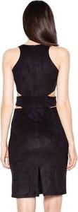 Granatowa sukienka Venaton z zamszu midi bez rękawów