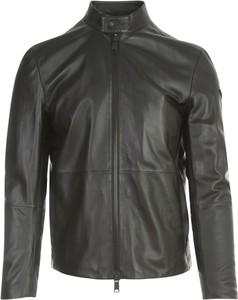 Czarna kurtka Emporio Armani ze skóry w stylu casual krótka
