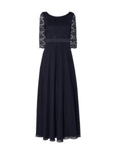 Granatowa sukienka Vera Mont maxi z szyfonu z długim rękawem