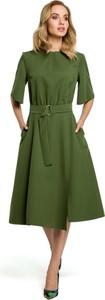 Sukienka MOE z długim rękawem z okrągłym dekoltem midi