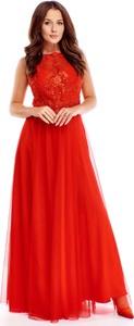 Sukienka Ptakmoda.com z okrągłym dekoltem maxi z tiulu
