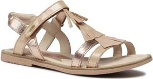 Złote buty dziecięce letnie Lasocki Young na rzepy dla dziewczynek ze skóry