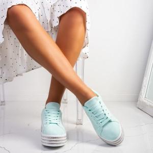 Niebieskie buty sportowe Royalfashion.pl sznurowane na platformie