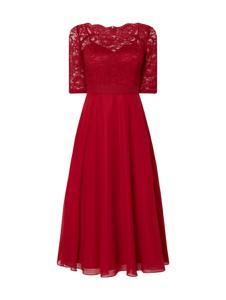 Sukienka Swing rozkloszowana z szyfonu z okrągłym dekoltem