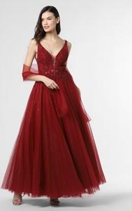 Czerwona sukienka Mascara na ramiączkach maxi z dekoltem w kształcie litery v