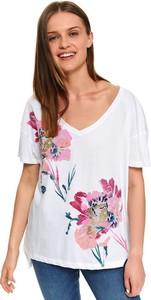 T-shirt Top Secret w młodzieżowym stylu z krótkim rękawem z dekoltem w kształcie litery v