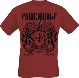 Czerwony t-shirt Powerwolf z bawełny