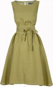 Zielona sukienka Kasia Zapała bez rękawów mini z okrągłym dekoltem