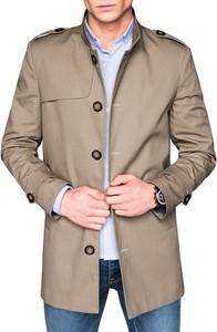 Brązowy płaszcz męski Ombre z bawełny w stylu casual