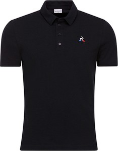 Czarna koszulka polo Le Coq Sportif z krótkim rękawem