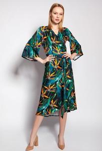 Sukienka Lanti midi w stylu casual z dekoltem w kształcie litery v