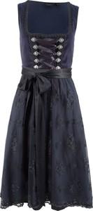 Granatowa sukienka bonprix bpc bonprix collection w stylu etno bez rękawów midi