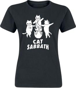 Czarny t-shirt Emp z bawełny z okrągłym dekoltem z krótkim rękawem