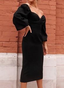 Czarna sukienka Sandbella ołówkowa z długim rękawem z dekoltem w kształcie litery v