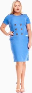 Niebieska sukienka Fokus z krótkim rękawem z okrągłym dekoltem z lnu