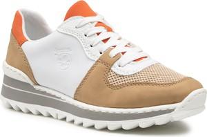 Buty sportowe Rieker ze skóry ekologicznej sznurowane na platformie