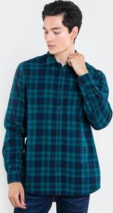 Turkusowa koszula Big Star z bawełny z długim rękawem w stylu casual