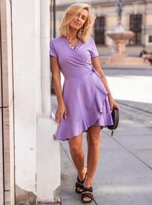 Fioletowa sukienka SELFIEROOM z krótkim rękawem mini