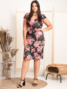Sukienka KARKO z dekoltem w kształcie litery v mini z krótkim rękawem