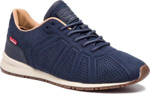 Niebieskie buty sportowe Levis w sportowym stylu sznurowane ze skóry ekologicznej