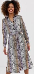 Fioletowa sukienka Miss Selfridge koszulowa ze skóry