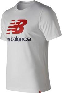 Srebrny t-shirt New Balance z bawełny