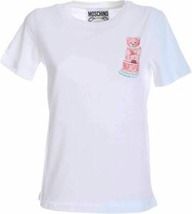 T-shirt Moschino z bawełny z krótkim rękawem z okrągłym dekoltem