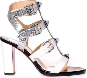 Srebrne sandały Christian Louboutin z klamrami