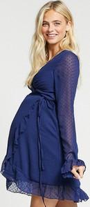 ASOS DESIGN Maternity – Granatowa kopertowa sukienka mini z rozszerzanymi rękawami i ozdobną siateczką dobby-Granatowy