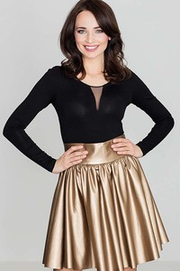 Złota spódnica Katrus ze skóry ekologicznej