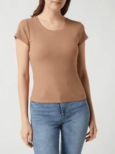 Brązowa bluzka Review z krótkim rękawem z bawełny z okrągłym dekoltem