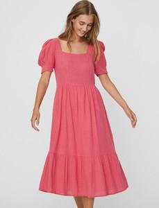 Sukienka Vero Moda midi z krótkim rękawem