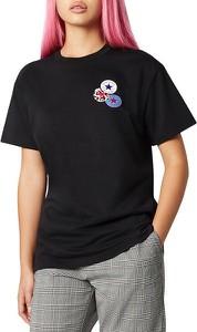 Czarny t-shirt Converse z okrągłym dekoltem z krótkim rękawem w młodzieżowym stylu