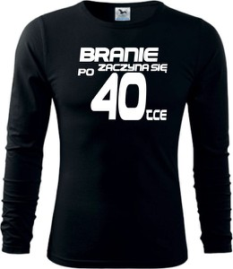 Czarna koszulka z długim rękawem TopKoszulki.pl z bawełny