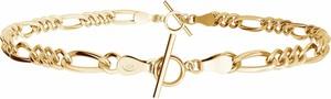 GIORRE Choker lub bransoletka z dwóch łańcuszków figaro, srebro 925 : Kolor pokrycia srebra - Żółtym 18K Złotem