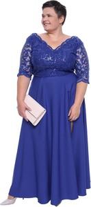 Sukienka modneduzerozmiary.pl maxi z długim rękawem z dekoltem w kształcie litery v