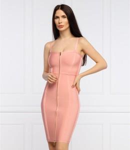 Różowa sukienka Guess by Marciano z okrągłym dekoltem mini