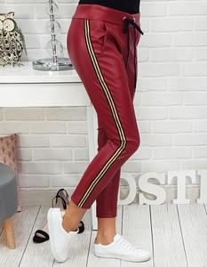 Czerwone spodnie Dstreet ze skóry ekologicznej w stylu casual