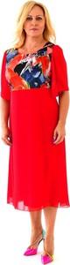 Czerwona sukienka Roxana - sukienki z szyfonu