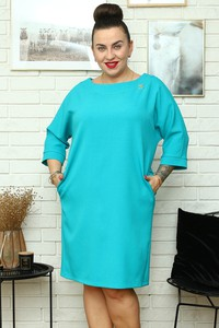 Niebieska sukienka KARKO z tkaniny mini z okrągłym dekoltem